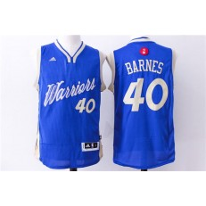 Golden State Warriors 40 Harrison Barnes Blue 2015 Christmas Edition Stitched NBA Jersey
