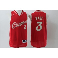 Los Angeles Clippers 3 Chris Paul Red 2015 Christmas Edition Stitched NBA Jersey