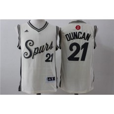 San Antonio Spurs 21 Tim Duncan Cream 2015 Christmas Edition Stitched NBA Jersey