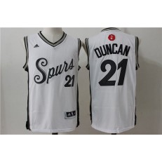 San Antonio Spurs 21 Tim Duncan White 2015 Christmas Edition Stitched NBA Jersey