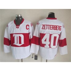 Detroit Red Wings #40 Henrik Zetterberg White Winter Classic CCM Throwback Stitched NHL Jersey