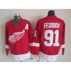 Detroit Red Wings #91 Sergei Fedorov Red CCM Throwback Stitched NHL Jersey