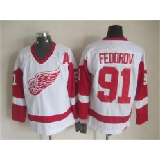 Detroit Red Wings #91 Sergei Fedorov White CCM Throwback Stitched NHL Jersey