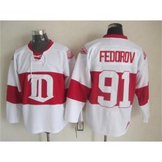Detroit Red Wings #91 Sergei Fedorov White Winter Classic CCM Throwback Stitched NHL Jersey