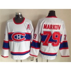 Montreal Canadiens 79 Andrei Markov White CCM Throwback Stitched NHL Jersey