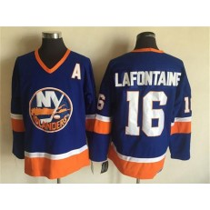 New York Islanders 16 Pat LaFontaine Baby Blue CCM Throwback Stitched NHL Jersey