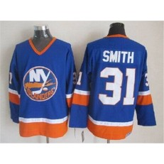 New York Islanders 31 Billy Smith Baby Blue CCM Throwback Stitched NHL Jersey