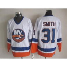 New York Islanders 31 Billy Smith White CCM Throwback Stitched NHL Jersey