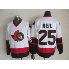 Ottawa Senators 25 Chris Neil White CCM Throwback Stitched NHL Jersey