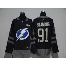 Adidas Tampa Bay Lightning #91 Steven Stamkos Black 1917-2017 100th Anniversary Stitched NHL Jersey