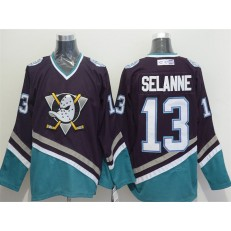 Anaheim Ducks #13 Teemu Selanne Purple Turquoise CCM Throwback Stitched NHL Jersey