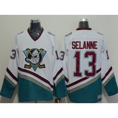 Anaheim Ducks #13 Teemu Selanne White CCM Throwback Stitched NHL Jersey