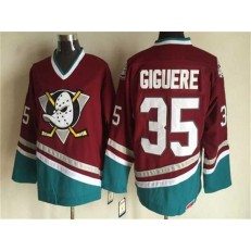 Anaheim Ducks #35 Jean-Sebastien Giguere Red CCM Throwback Stitched NHL Jersey