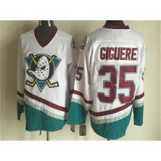 Anaheim Ducks #35 Jean-Sebastien Giguere White CCM Throwback Stitched NHL Jersey