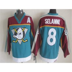 Anaheim Ducks #8 Teemu Selanne Red Turquoise CCM Throwback Stitched NHL Jersey