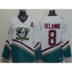 Anaheim Ducks #8 Teemu Selanne White CCM Throwback Stitched NHL Jersey