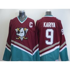 Anaheim Ducks #9 Paul Kariya Red CCM Throwback Stitched NHL Jersey