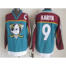 Anaheim Ducks #9 Paul Kariya Red Turquoise CCM Throwback Stitched NHL Jersey