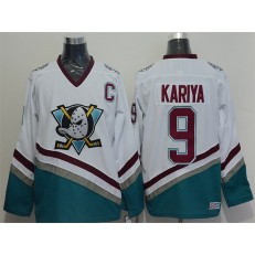 Anaheim Ducks #9 Paul Kariya White CCM Throwback Stitched NHL Jersey