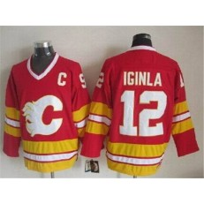 Calgary Flames #12 Jarome Iginla Red CCM Throwback Stitched NHL Jersey