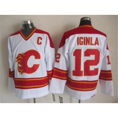 Calgary Flames #12 Jarome Iginla White CCM Throwback Stitched NHL Jersey