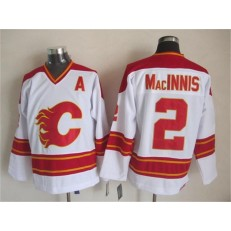 Calgary Flames #2 Al MacInnis White CCM Throwback Stitched NHL Jersey