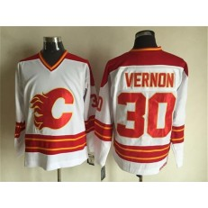 Calgary Flames #30 Mike Vernon White CCM Throwback Stitched NHL Jersey