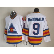 Colorado Avalanche #9 Lanny McDonald White CCM Throwback Stitched NHL Jersey