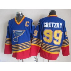 St. Louis Blues #99 Wayne Gretzky Light Blue Red CCM Throwback Stitched NHL Jersey