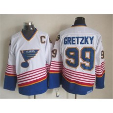 St. Louis Blues #99 Wayne Gretzky White Light Blue CCM Throwback Stitched NHL Jersey