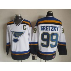 St. Louis Blues #99 Wayne Gretzky White Navy CCM Throwback Stitched NHL Jersey