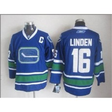 Vancouver Canucks #16 Trevor Linden Blue With 40TH Patch Third Stitched NHL Jersey