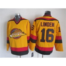 Vancouver Canucks #16 Trevor Linden Gold CCM Throwback Stitched NHL Jersey