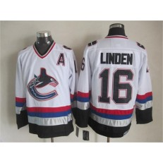 Vancouver Canucks #16 Trevor Linden White Black CCM Throwback Stitched NHL Jersey