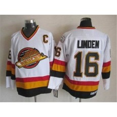 Vancouver Canucks #16 Trevor Linden White CCM Throwback Vintage Stitched NHL Jersey