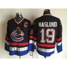 Vancouver Canucks #19 Markus Naslund Black Blue CCM Throwback Stitched NHL Jersey