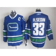 Vancouver Canucks #33 Henrik Sedin Blue With 40TH Patch Third Stitched NHL Jersey