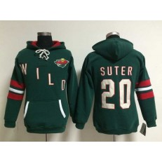 Womens NHL Minnesota Wild #23 Ryan Suter Lace Up Pullover Hooded Sweatshirt