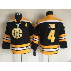 Boston Bruins #4 Bobby Orr CCM Throwback Black Stitched Youth NHL Jersey