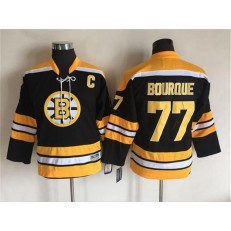Boston Bruins #77 Ray Bourque Black CCM Throwback Stitched Youth NHL Jersey