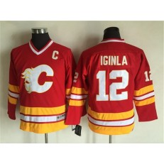 Calgary Flames #12 Jarome Iginla Red CCM Throwback Stitched Youth NHL Jersey
