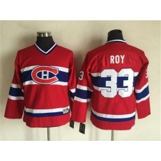 Montreal Canadiens #33 Patrick Roy Red CCM Throwback Stitched Youth NHL Jersey