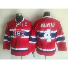 Montreal Canadiens #4 Jean Beliveau Red CCM Throwback Stitched Youth NHL Jersey