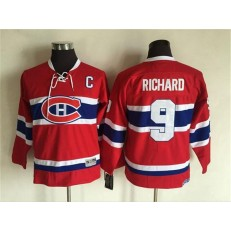 Montreal Canadiens #9 Maurice Richard Stitched Red CH CCM Throwback Youth NHL Jersey