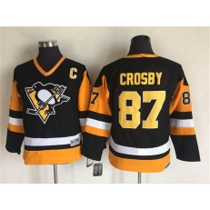 Pittsburgh Penguins #87 Sidney Crosby Black CCM Throwback Stitched Youth NHL Jersey