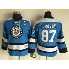 Pittsburgh Penguins #87 Sidney Crosby Blue CCM Throwback Stitched Youth NHL Jersey